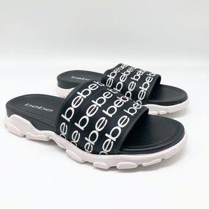 Bebe Black Logo Slide Sandal